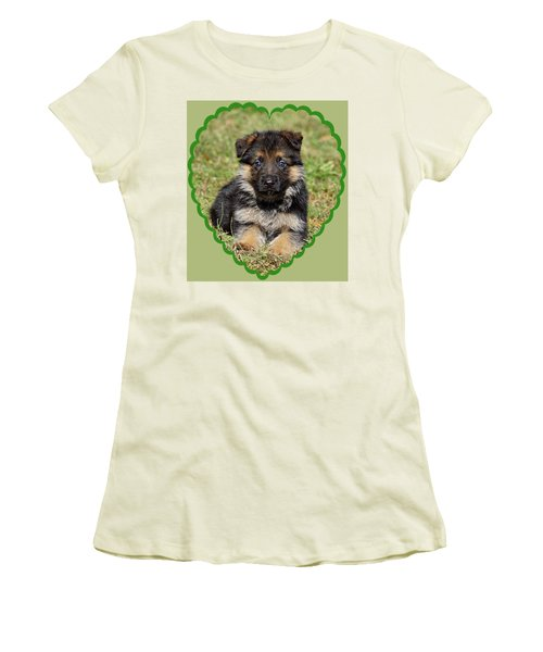 Women's T-Shirt (Junior Cut) featuring the photograph Puppy In Heart by Sandy Keeton