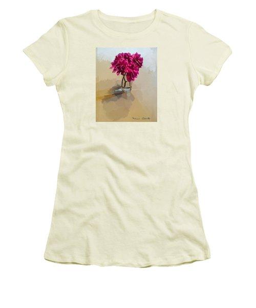 Purple Dahlias Women's T-Shirt (Junior Cut) by Melissa Abbott
