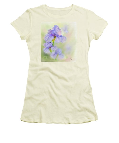 Women's T-Shirt (Junior Cut) featuring the painting Purple Iris by Bonnie Willis