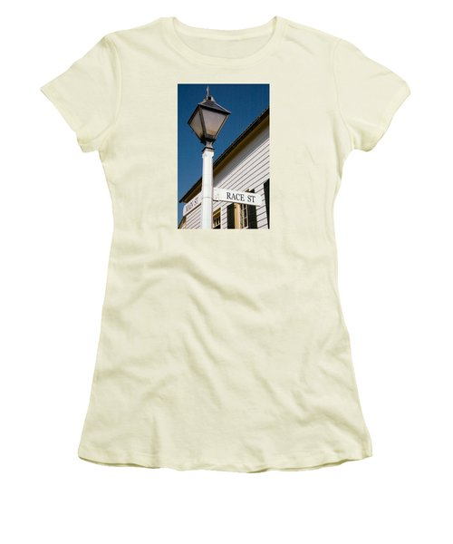 Women's T-Shirt (Junior Cut) featuring the photograph Race St Old Salem by Bob Pardue