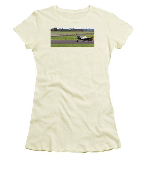 Women's T-Shirt (Athletic Fit) featuring the photograph Raf Scampton 2017 - P-51 Mustang Landing by Scott Lyons