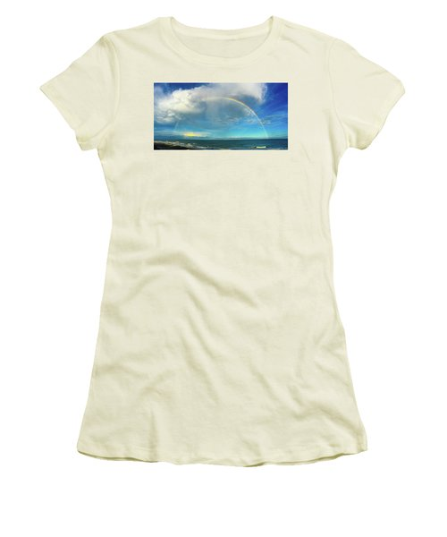 Rainbow Over Topsail Island Women's T-Shirt (Junior Cut) by John Pagliuca