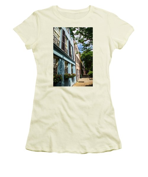 Women's T-Shirt (Junior Cut) featuring the photograph Rainbow Street by Karol Livote