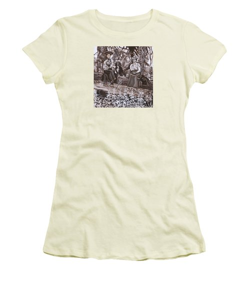 Women's T-Shirt (Junior Cut) featuring the painting Ranch Women Picking Berries Historical Vignette by Dawn Senior-Trask