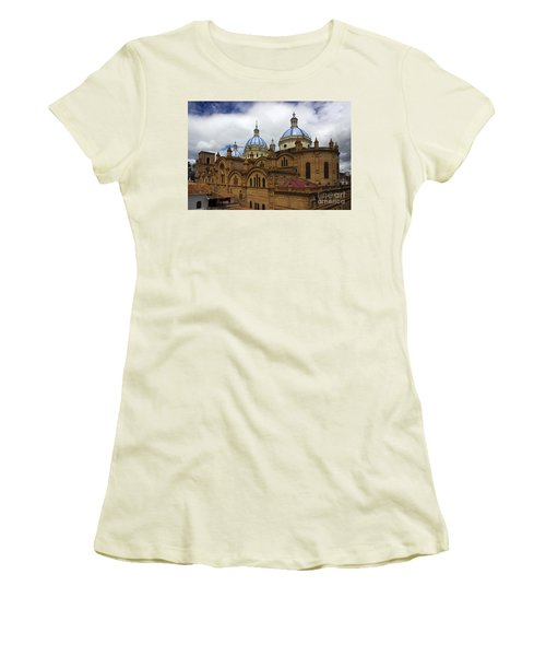 Rear Corner View Of Immaculate Conception Cathedral Women's T-Shirt (Junior Cut) by Al Bourassa