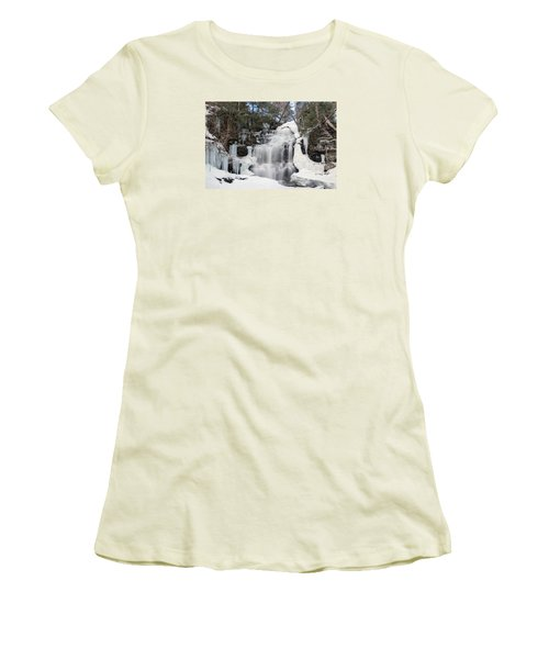 Receding Winter Ice At Ganoga Falls Women's T-Shirt (Junior Cut) by Gene Walls