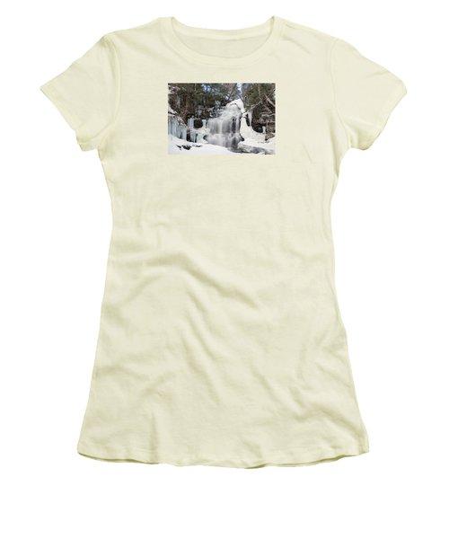 Receding Winter Ice At Ganoga Falls Women's T-Shirt (Athletic Fit)