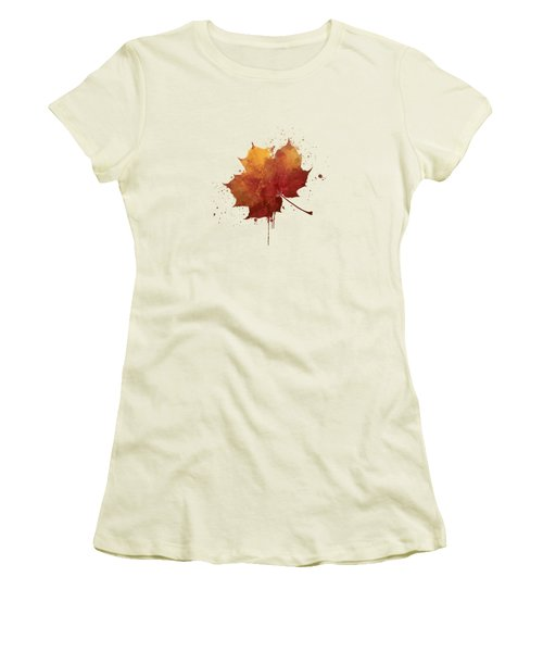 Red Autumn Leaf Women's T-Shirt (Junior Cut) by Thubakabra
