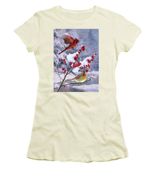 Red Birds Of Christmas Women's T-Shirt (Athletic Fit)