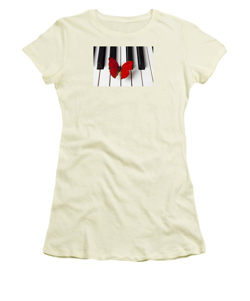 Red Butterfly On Piano Keys Women's T-Shirt (Junior Cut) by Garry Gay