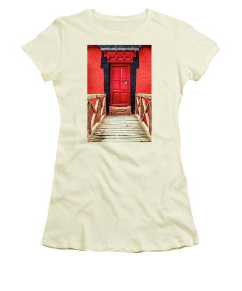 Women's T-Shirt (Junior Cut) featuring the photograph Red Door At A Monastery by Alexey Stiop