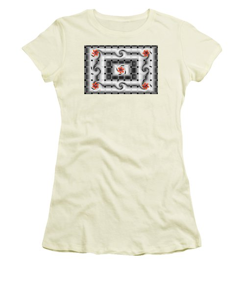 Red Floral Fractal Women's T-Shirt (Athletic Fit)