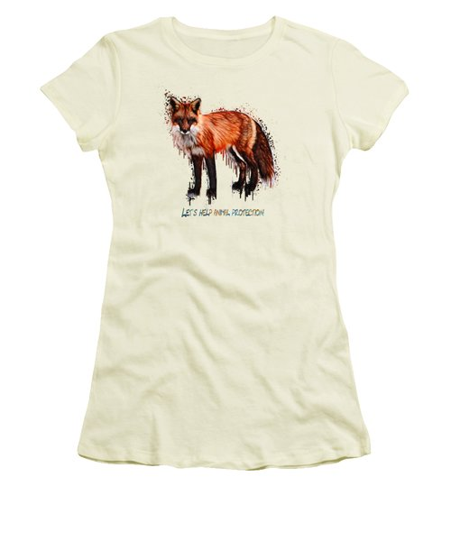 Women's T-Shirt (Junior Cut) featuring the painting Red Fox In Tears Digital Painting by Georgeta Blanaru