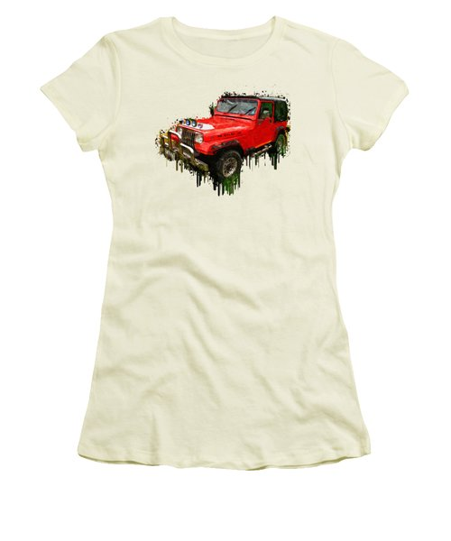 Red Jeep Off Road Acrylic Painting Women's T-Shirt (Junior Cut) by Georgeta Blanaru