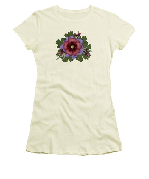 Red Open Faced Potentilla Pressed Flower Arrangement Women's T-Shirt (Athletic Fit)