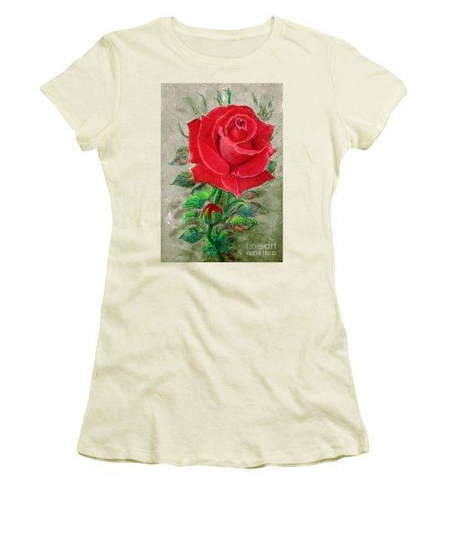 Red Rose Women's T-Shirt (Junior Cut) by Jasna Dragun