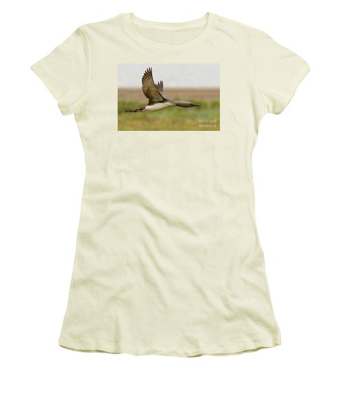 Red-throated Loon In Flight Women's T-Shirt (Athletic Fit)