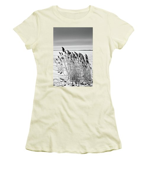 Reeds On A Frozen Lake Women's T-Shirt (Athletic Fit)