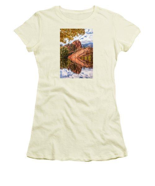 Women's T-Shirt (Junior Cut) featuring the photograph Reflecting At Red Rocks Open Space by Christina Lihani