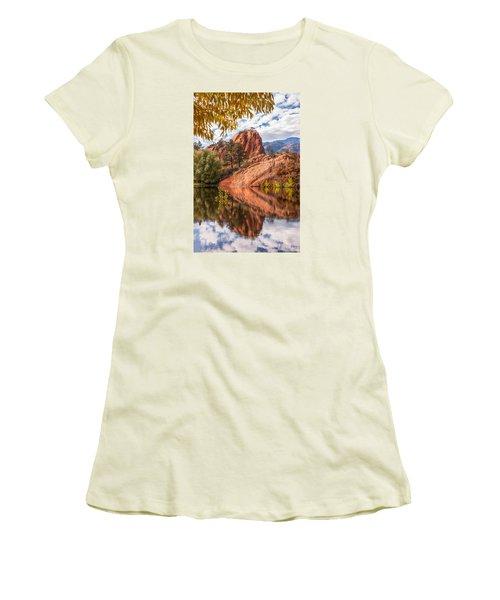 Reflecting At Red Rocks Open Space Women's T-Shirt (Junior Cut) by Christina Lihani