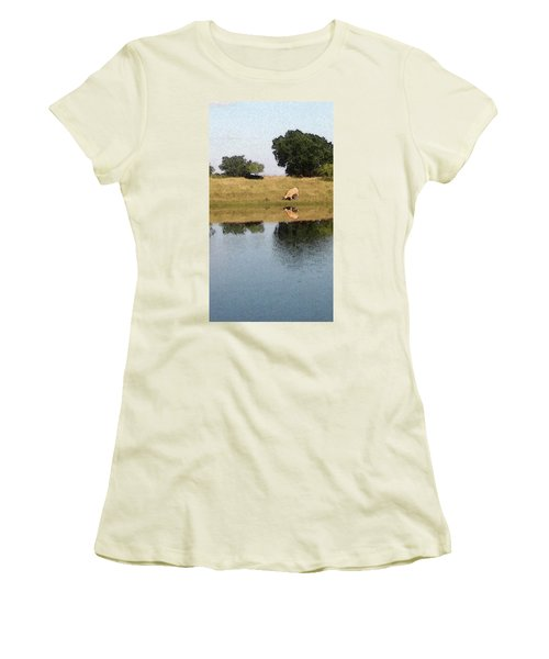 Reflective Cow Women's T-Shirt (Junior Cut) by Donna G Smith