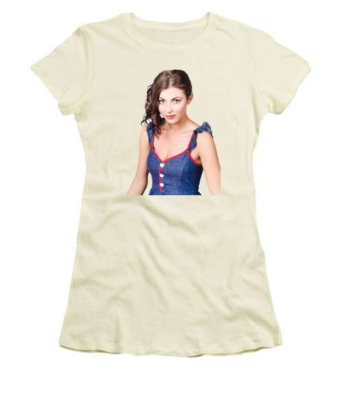 Retro Pin-up Girl In Blue Denim Dress Women's T-Shirt (Athletic Fit)