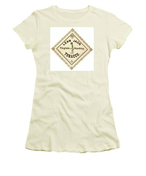 Women's T-Shirt (Junior Cut) featuring the photograph Retro Tobacco Label 1867 A by Padre Art