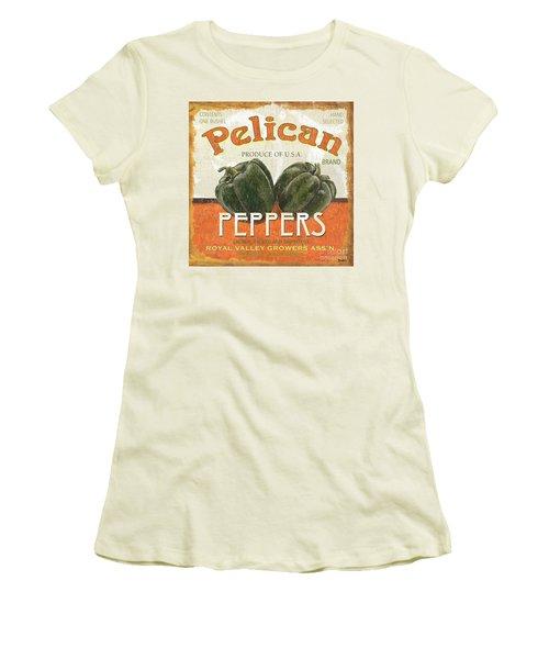 Retro Veggie Labels 3 Women's T-Shirt (Junior Cut) by Debbie DeWitt