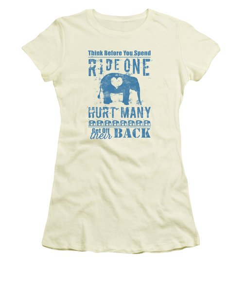 Women's T-Shirt (Athletic Fit) featuring the digital art Ride One Elephant Hurt Many by Nola Lee Kelsey