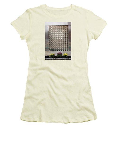 Women's T-Shirt (Junior Cut) featuring the photograph Rippled Glsss Window Segments Above The Garden by Gary Slawsky