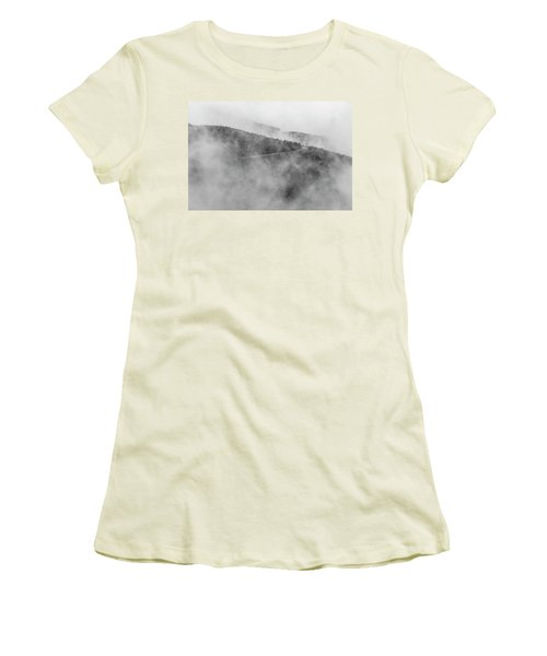 Road In Fog - Blue Ridge Parkway Women's T-Shirt (Athletic Fit)