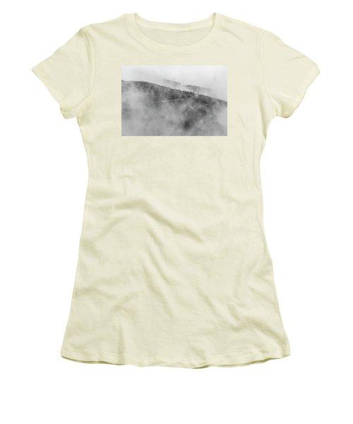 Road In Fog - Blue Ridge Parkway Women's T-Shirt (Athletic Fit)