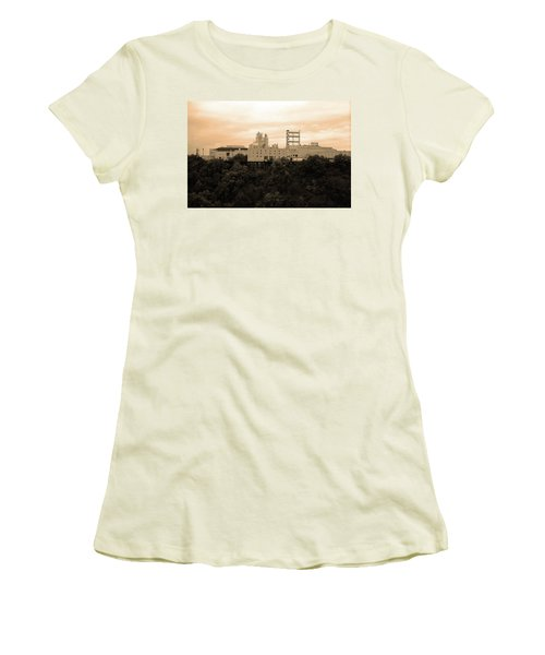 Women's T-Shirt (Junior Cut) featuring the photograph Rochester, Ny - Factory On A Hill Sepia by Frank Romeo