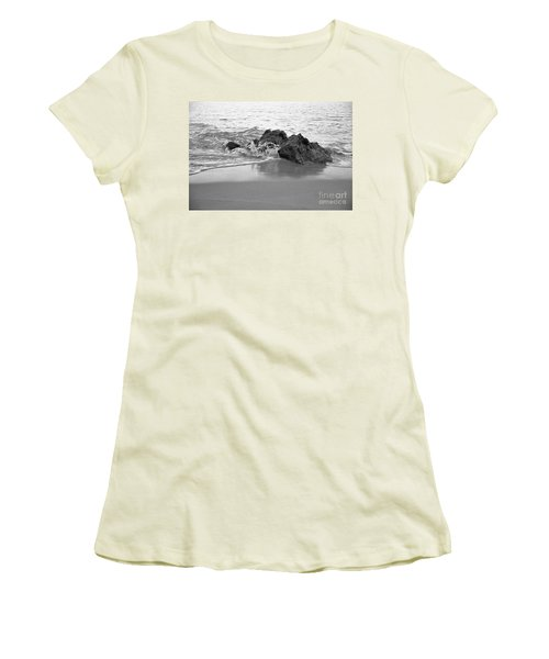 Rock And Waves In Albandeira Beach. Monochrome Women's T-Shirt (Junior Cut) by Angelo DeVal