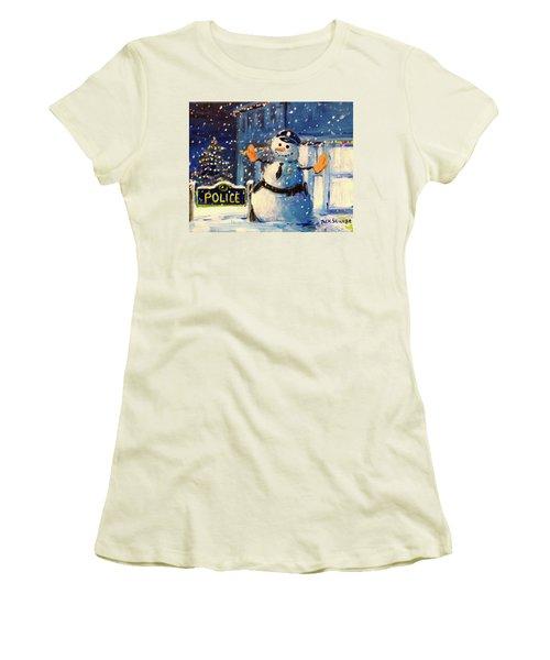 Rookie Working Christmas Eve Women's T-Shirt (Junior Cut) by Jack Skinner