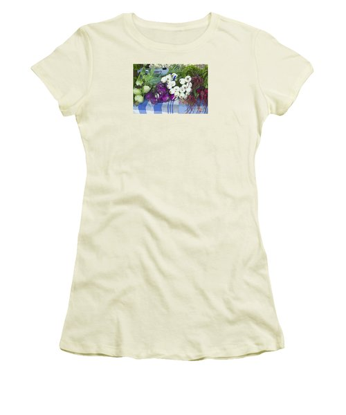Women's T-Shirt (Junior Cut) featuring the painting Root Vegetables by Jeanette French