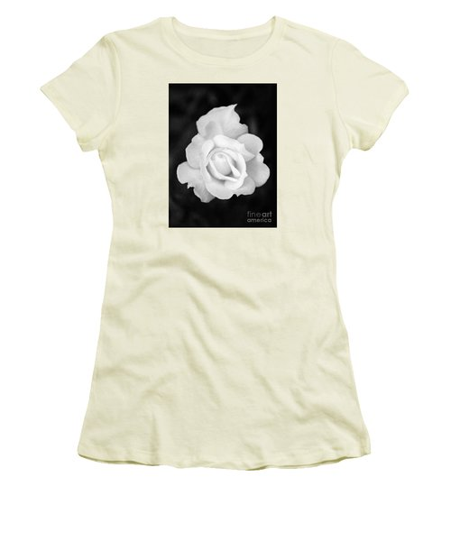 Rose In Black And White Women's T-Shirt (Athletic Fit)