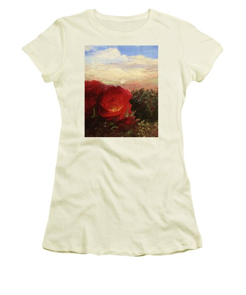 Rosebush Women's T-Shirt (Junior Cut) by Mary Ellen Frazee