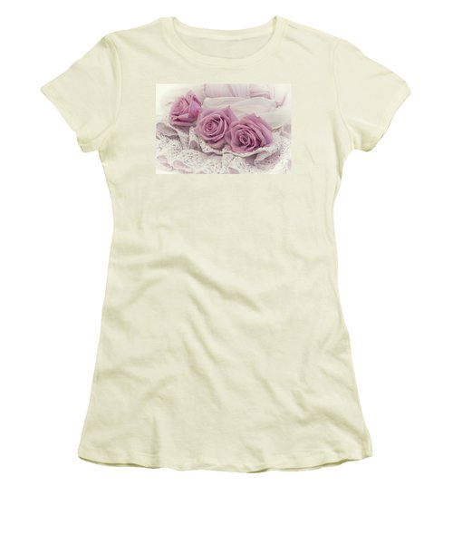 Roses And Beaded Lace Women's T-Shirt (Junior Cut) by Sandra Foster