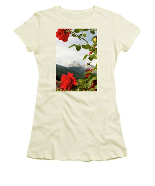 Women's T-Shirt (Junior Cut) featuring the photograph Roses Of The Zugspitze by KG Thienemann