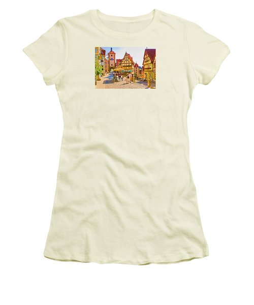 Women's T-Shirt (Junior Cut) featuring the photograph Rothenburg Little Square by Dennis Cox WorldViews