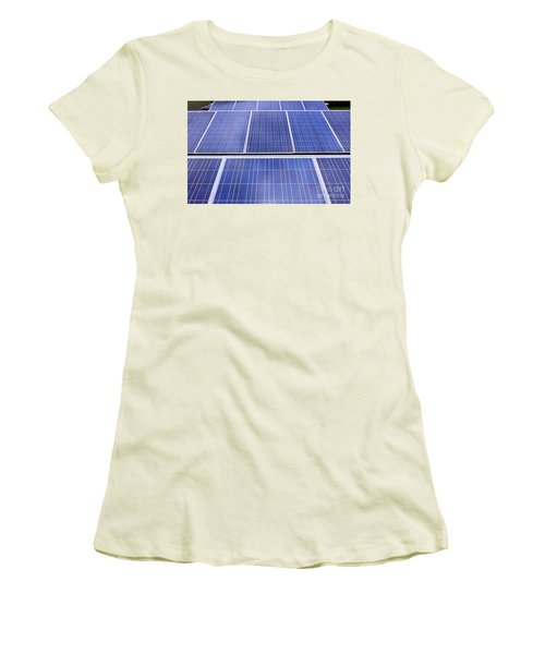 Women's T-Shirt (Junior Cut) featuring the photograph Rows Of Solar Panels by Yali Shi