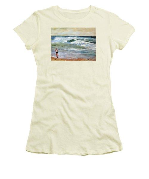 Women's T-Shirt (Junior Cut) featuring the painting Running The Beach by Michael Helfen