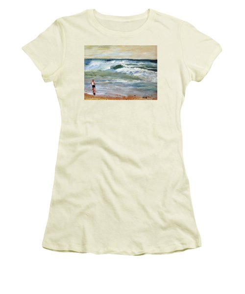 Running The Beach Women's T-Shirt (Athletic Fit)