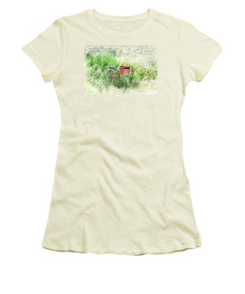 Women's T-Shirt (Junior Cut) featuring the photograph Rural Mailbox by Jean OKeeffe Macro Abundance Art