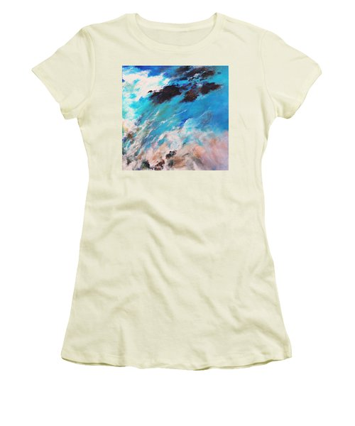 Women's T-Shirt (Junior Cut) featuring the painting Rushing Water by M Diane Bonaparte