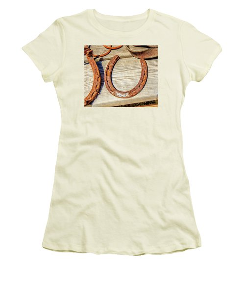 Rusty Horseshoes Found By Curators Of The Ghost Town Of St. Elmo Women's T-Shirt (Athletic Fit)