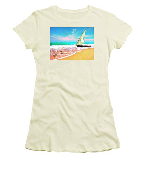 Sail Boat On The Shore Women's T-Shirt (Athletic Fit)