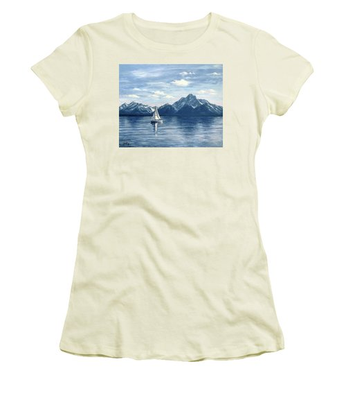 Sailing At The Grand Tetons Women's T-Shirt (Athletic Fit)