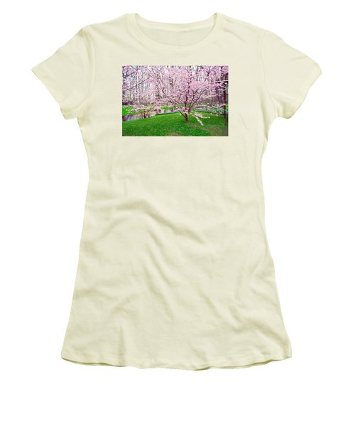 Women's T-Shirt (Junior Cut) featuring the photograph Sakura Bloom In Keukenhof Garden by Jenny Rainbow